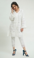 A traditional white Chikan Kurta with beautiful mirror work encrusted alongside the borders with laces. Paired with straight lace embellished chikan pants