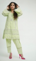 Chikan straight Kurta with mirror work and silver Japanese bead button motifs highlighted with gota lines, paired with Straight lace embellished chikan shalwar.