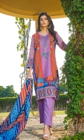 Shirt: Printed Cambric (3 meters) Dupatta: Printed Lawn (2.5 meters) Trouser: Dyed Cambric (2.5 meters)
