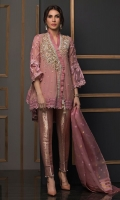 Zari net high-low shirt featuring pearls and crystals embroidered details on neckline. The hemline of the shirt is further enhanced with crochet laces. The top is paired with pure damask straight pants with pearls and organza finishings. Organza dupatta with gold zari borders makes it a stunner.
