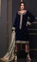 Straight silhouette deep blue velvet shirt featuring block printed hemline with zardoze details on the neckline and the hem. The sleeves of the shirt are further enhanced with hand embroidered dabka and gota borders. The shirt is paired with block printed izaar pants with hand embroidered gota borders on the hemline. Pure silk dupatta with zari borders makes this ensemble headturning.