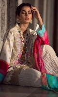Silk digital printed dupatta 2.75 yards. Dyed embroidered 3 panels masoori lawn front 1.25 yards. Embroidered border for front. Digital printed masoori lawn back 1.25 yards. Digital printed masoori lawn sleeves 0.65 yard. Plain dyed cotton trouser 2.75 yards.