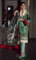 Crinkle chiffon digital printed dupatta 2.75 yards. Dyed heavy embroidered lawn front 1.25 yards. Embroidered lace patti on neckline. Embroidered border for front. Digital printed lawn back 1.25 yards. Digital printed lawn sleeves 0.65 yard. Plain dyed cotton trouser 2.75 yards.