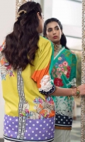 Crinkle chiffon digital printed dupatta 2.75 yards. Digital printed lawn front 1.25 yards. Embroidered 2 floral patch and embroidered border for front. Digital printed lawn back 1.25 yards. Digital printed lawn sleeves 0.65 yard. Embroidered 2 motifs for sleeves. Plain dyed cotton trouser 2.75 yards. With 2 floral embroidered patch.