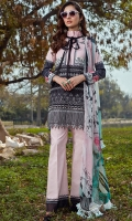 Pure crinkle chiffon digital printed dupata 2.75 yards. Digital printed front 1.25 yards. Embroidered 2 floral patches for front. Heavy embroidered daman 34 inches. Digital printed lawn back 1.25 yards. Digital printed lawn sleeves 0.65 yards. Digital printed trouser 2.75 yards.