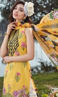 Pure silk digital printed dupata 2.75 yards . Embroidered dyed front 1.25 yards. Embroidered daman border 1 meter . Digital printed lawn Back 1.25 yards . Digital printed sleeves 0.65 yards . Digital printed trouser 2.5 meters .