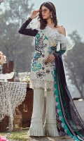 Pure crinkle chiffon digital printed dupata 2.75 yards. Dyed lawn embroidered front 1.25 yards. Embroidered daman patti 1 yard. Digital printed lawn back 1.25 yards. Digital printed lawn sleeves 0.65 yards. Dyed trouser 2.75 yards.