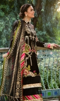 Fully embroidered and sheesha work front on velvet 1.25 yards. Embroidered back on velvet 1.25 yards. Composed embroidered sleeves 0.75 yard. Dupatta fully embroidered + sheesha work on net 3 yards. Additional Sheesha work on net fabric for front and back. Trouser raw silk 2.5 meters.