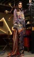 3 meter shirt front, back and sleeves (digital print) 2.5 meter dupatta (digital print) 1 meter embroidered border 2 meter embroidered border 2 meter dyed trouser