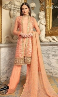 """2.3 Meter Embroidered Front and Back 0.5 Meter Embroidered Sleeves 2 Meter Thin Embroidered Border Two 30"""" Embroidered Front and Back Daaman Borders 2.5 Meter Dyed Trouser  2.5 Meter Embroidered Chiffon Dupatta"""