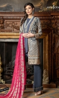 2 Embroidered Left and Right Front Panels 1 Embroidered Back 2 Embroidered Sleeves 2.5 Meter Dyed Trouser 2.5 Meter Embroidered Chiffon Dupatta