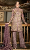 1 Embroidered Front 1 Embroidered Back 2 Embroidered Sleeves 1 Meter thin Embroidered Border 2.5 Meter Dyed Trouser 2.5 Meter Embroidered Chiffon Dupatta