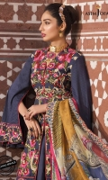 "Embroidered center panel (1) Embroidered side panels (2) Embroidered back (1) Dyed jacquard for sleeves (0.5 meter) Embroidered Border for front (26"") Embroidered Border for back (26"") Embroidered border for sleeves (1 meter) Thin border for neck (1 meter) Dyed trouser (2.5 meter) Printed silk dupatta (2.5 meter)"