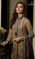 Embroidered and hand touched neckline (1) Embroidered and hand touched bunches for sleeves (2) Embroidered border (1.5 meter) Jacquard woven and dyed shirt (3 meter) Printed silk dupatta (2.5 meter) Dyed trouser (2.5 meter)