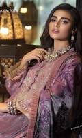 Embroidered neckline (1) Embroidered thin border (1 meter) Embroidered big border (1 meter) Jacquard woven and dyed shirt (3 meter) Dyed trouser (2.5 meter) Printed silk dupatta (2.5 meter)