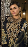 Embroidered neckline (1) Thin embroidered border (1 meter) Thick Embroidered border (1 meter) Printed shirt (3 meter) Dyed trouser (2.5 meter) Printed silk dupatta (2.5 meter)