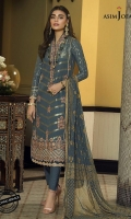 "Embroidered back bunch (1) Embroidered border (1 meter) Embroidered daaman border (28"") All-over motif embroidery on jacquard shirt front (45"") Jacquard dyed back (45"") Jacquard dyed sleeves (26"") Chiffon gold dust printed dupatta (2.5 meter) Dyed trouser (2.5 meter)"