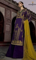 """Embroidered shirt front 1 (W=26"""" H=45"""") Embroidered back 1 (W=26"""" H=45"""") Embroidered sleeves (2) Daman border for front (26"""") Thin embroidered border (1.5 meter) Dyed trouser (2.5 meter) Dyed embroidered dupatta (2.5 meter)"""
