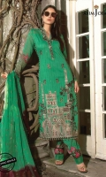 "1 Embroidered Front  1 Embroidered Back  30"" Embroidered border for back 1 meter Embroidered Thin Border 0.5 meter Printed Sleeves 2.5 meter Printed Pants  2.5 meter Tonal dyed and Embroidered Dupatta"