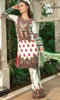 "1 embroidered neckline 30"" daman border 45"" all over front embroidered 2 embroidered trouser bunch 2.5 meter embroidered dupatta  2.5 meter printed trouser 1 printed shirt back  1 printed sleeves"