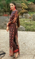 "All-over Embroidered Front  30"" Embroidered Daaman Border 1 Printed Back and Sleeves 2 meter Embroidered thin border 2.5 meter Printed Trouser  2.5 meter Embroidered Dupatta"