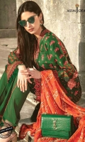 """All-over Embroidered Front  30"""" Embroidered Daaman Border 1 Printed Back and Sleeves 2 meter Embroidered thin border 2.5 meter Printed Trouser  2.5 meter Embroidered Dupatta"""