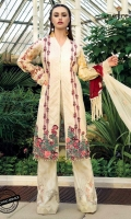 "All-over embroidered front 42"" 2 Embroidery panel pattis 1 meter Embroidery border  30"" 1 Embroidery daman border 1 Printed Back and sleeves 2.5 meter Embroidered dupatta 2.5 meter trouser"