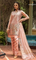 """1 Embroidered shirt front (W=26"""" H=45"""") 0.5 meter embroidered sleeves 26"""" Embroidered daaman border for front 26"""" Embroidered daaman border for back 1 meter thin Embroidered border  1.25 meter dyed organza for back 2.5 meter Dyed Raw Silk trouser 2.5 meter woven dyed organza dupatta"""