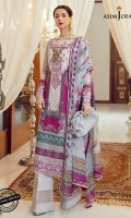 """1 embroidered neckline (1) Embroidered sleeve border 1 meter Embroidered daman border 52"""" Printed lawn shirt (Front +back+ sleeves) (1) Dyed cotton trouser 2 meter Digital printed silk dupatta 2.5 meter"""