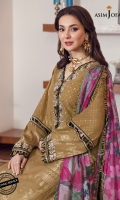 Embroidered neckline (1) Embroidered border for front and back 1.5 meter Embroidered border for sleeve hem 1 meter Dyed woven jacquard lawn shirt (Front+back+sleeve) 3 meter Dyed cotton trouser 2 meter Printed silk dupatta 2.5 meter
