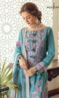 """Embroidered front 45"""" Embroidered border for back 26"""" Embroidered border for sleeve hem 1 meter Self jacquard lawn fabric for shirt back and sleeves 1.25 meter Dyed cotton trouser 2 meter Embroidered organza dupatta 2.5 meter"""