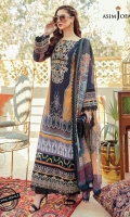 Embroidered neckline (1) Embroidered sleeve border 1 meter Embroidered daman border 1.5 meter Printed lawn shirt (Front +back+ sleeves) (1) Dyed cotton trouser 2 meter Digital printed silk dupatta 2.5 meter