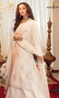 """Embroidered front (W=26""""H=45"""") Embroidered back (W=26""""H=45"""") Embroidered thin lace 1 meter Daman corner bunches (2) Thin embroidered border 54"""" Embroidered sleeve bunches (2) Embroidered sleeve hem border on sleeve fabric 1 yard Dyed trouser 2 meter Embroidered chiffon dupatta 2.5 meter"""