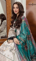 """Embroidered and hand worked neckline (1) Embroidered and hand worked daman border for front and back 52"""" Embroidered and hand touched motifs (2) Embroidered and hand touched border for sleeve hem 1 meter Dyed cotton trouser 2 meter Printed silk dupatta 2.5 meter"""