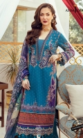 Embroidered bunches (2) Embroidered sleeve border 1 meter Embroidered daman border 1.5 meter Thin border 1.5 meter Printed lawn shirt (Front +back+ sleeves) (1) Dyed cotton trouser 2 meter Digital printed silk dupatta 2.5 meter