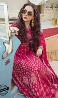 """Jacquard Bodice front Jacquard Bodice back Jacquard sleeves (2) Woven panels (kalis) (16) Embroidered border for endings 4.5 meter Dyed cotton trouser 2 meter Embroidered chiffon dupatta (center) 2 meter Two 42"""" embroidered pallus on organza for dupatta"""