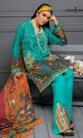 """47"""" Shirt front and back (Digital print on raw silk) 26"""" Sleeves (Digital print on raw silk) 2.5 meter dupatta (Digital print on crinkle chiffon) 2 meter trouser (Cotton satin) (56"""" width) 2 meter embroidered border  2 embroidered trouser bunches"""