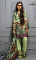 """47"""" Shirt front and back (Digital print on raw silk) 26"""" Sleeves (Digital print on raw silk) 2.5 meter dupatta (Digital print on crinkle chiffon) 2 meter trouser (Cotton satin) (56"""" width) 1 meter embroidered border  2 Embroidered trouser bunches 2 Embroidered sleeve bunches"""