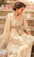 """39"""" Asymmetrically embroidered right panel 39"""" Asymmetrically embroidered left panel Two 26"""" Front and back embroidered borders 2 Embroidered sleeves 1 meter embroidered thin border 45"""" embroidered back 2.5 meter embroidered dupatta 2.5 meter dyed trouser"""