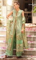 """42"""" Embroidered front 26"""" Embroidered front border 26"""" Embroidered back border 45"""" Embroidered back 1 embroidered back bunch 1 meter embroidered thin border 0.5 meter embroidered sleeves 2.5 meter jacquard and dyed organza dupatta 2.5 meter dyed trouser"""