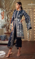 """42"""" Embroidered front 42"""" Embroidered center panel for back 42"""" Embroidered right panel for back 42"""" Embroidered left panel for back 1 meter embroidered thin border Two 17"""" embroidered hems for sleeves 0.5 meter Embroidered sleeves 2.5 meter Embroidered dupatta 2.5 meter dyed trouser"""
