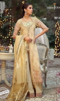 """90"""" embroidered front and back 1 m embroidered sleeves 36"""" embroidered borders for sleeves 30"""" embroidered border for front 30"""" embroidered border for back 1 meter thin embroidered border 1 meter medium embroidered border 2.5 meter foil printed dupatta on organza 2.5 meter dyed trouser"""