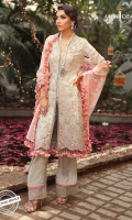 """1 Embroidered front H= 24"""" W=24"""" 1 Embroidered back H=24"""" W=24"""" Two 24"""" daaman borders for front and back H=18"""" W=24"""" 0.5 m Embroidered sleeves 1 meter embroidered thin border 2.5 meter Embroidered dupatta 2.5 meter dyed Trouser"""