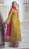 """Embroidered center panel 1 Embroidered side panels 2 (W=6"""" H=45"""") Embroidered back (W=26"""" H=45"""") Embroidered sleeves (W=39"""" H=26"""") Embroidered border for front and back 52"""" Dyed raw silk trouser 2.5 meter Dyed woven organza dupatta 2.5 meter"""