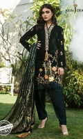 Embroidered front 2 embroidered sleeves 1.25 meter Velvet for back 30 inches embroidered border 1 meter embroidered border 2.5 meter dupatta 2.5 meter trouser