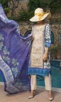 Shirt: 3 meter (Cambric Embroidered Shirt) Dupatta: 2.5 meter (Chiffon Dupatta) Trouser: 2.5 meter