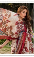 03 pcs unstitched embroidered Lawn with printed Chiffon dupatta