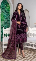 Embroidered Neckline patch Front Embroidered Velvet Back Embroidered Velvet Sleeves Embroidered Velvet Ready to wear Embroidered lace organza Duppatta Embroidered Raw silk patch for front and back Jamawar Trouser