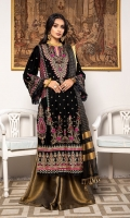 Front Embroidered Velvet Back Embroidered Velvet Sleeves Embroidered Velvet Ready to wear Embroidered lace organza Dupatta Embroidered Raw silk patch for front and back Jamawar Trouser