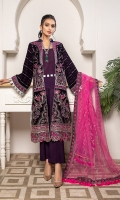 Front Embroidered Velvet Back Plain Velvet Sleeves Embroidered Velvet Ready to wear Embroidered lace Net Dupatta Embroidered raw silk patch for front and back Raw Silk Trouser